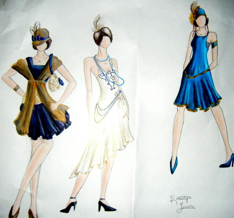 1920s Dress Designs Blue by KristynJanelle