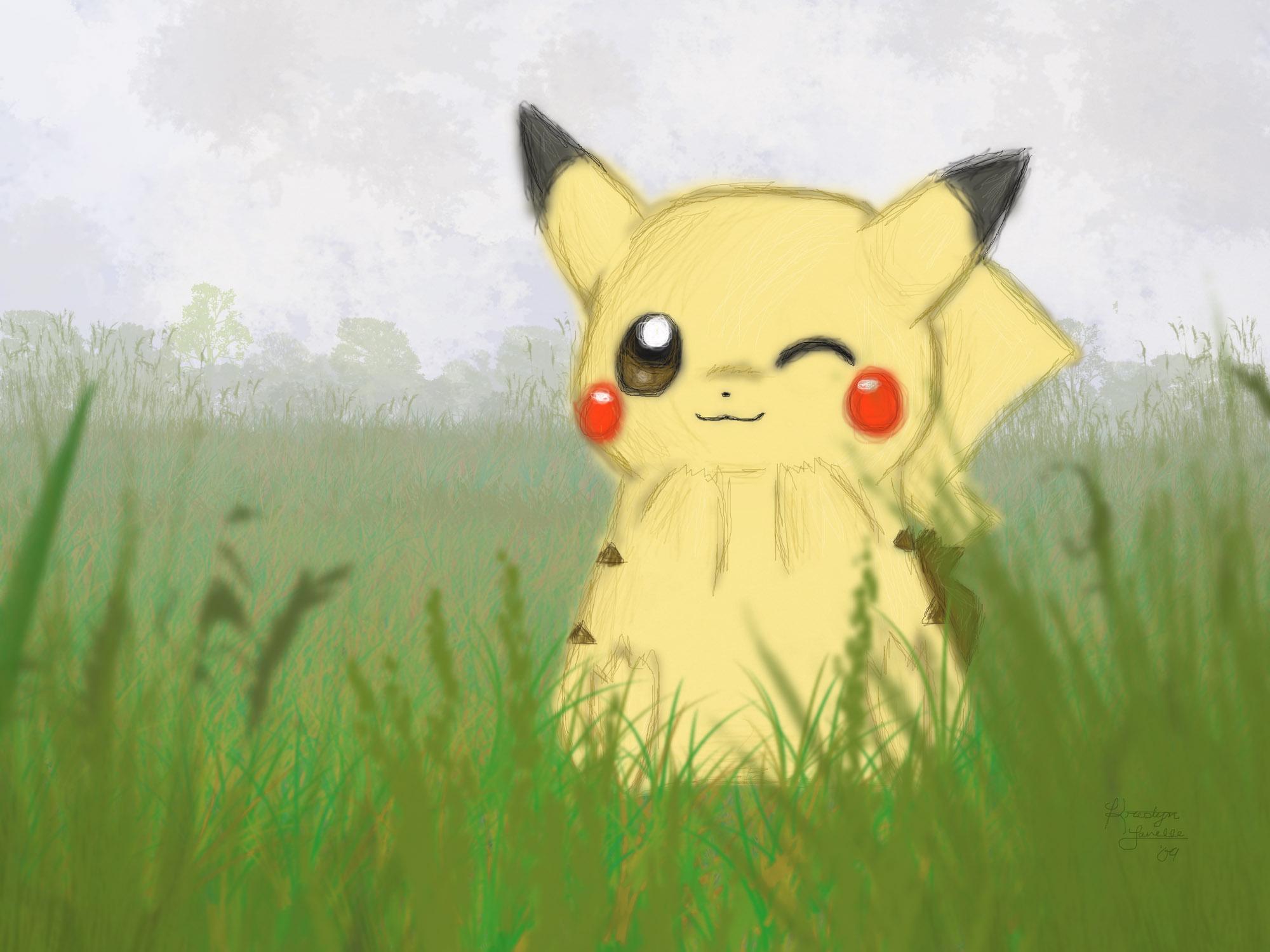 Pikachu Wallpaper- Foggy Field by KristynJanelle