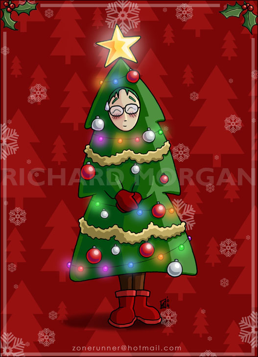 Tataku Christmas Tree card by zonefox