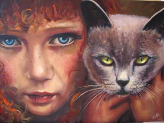 Girl with Cat Maedchen Katze by fusunyeremyan