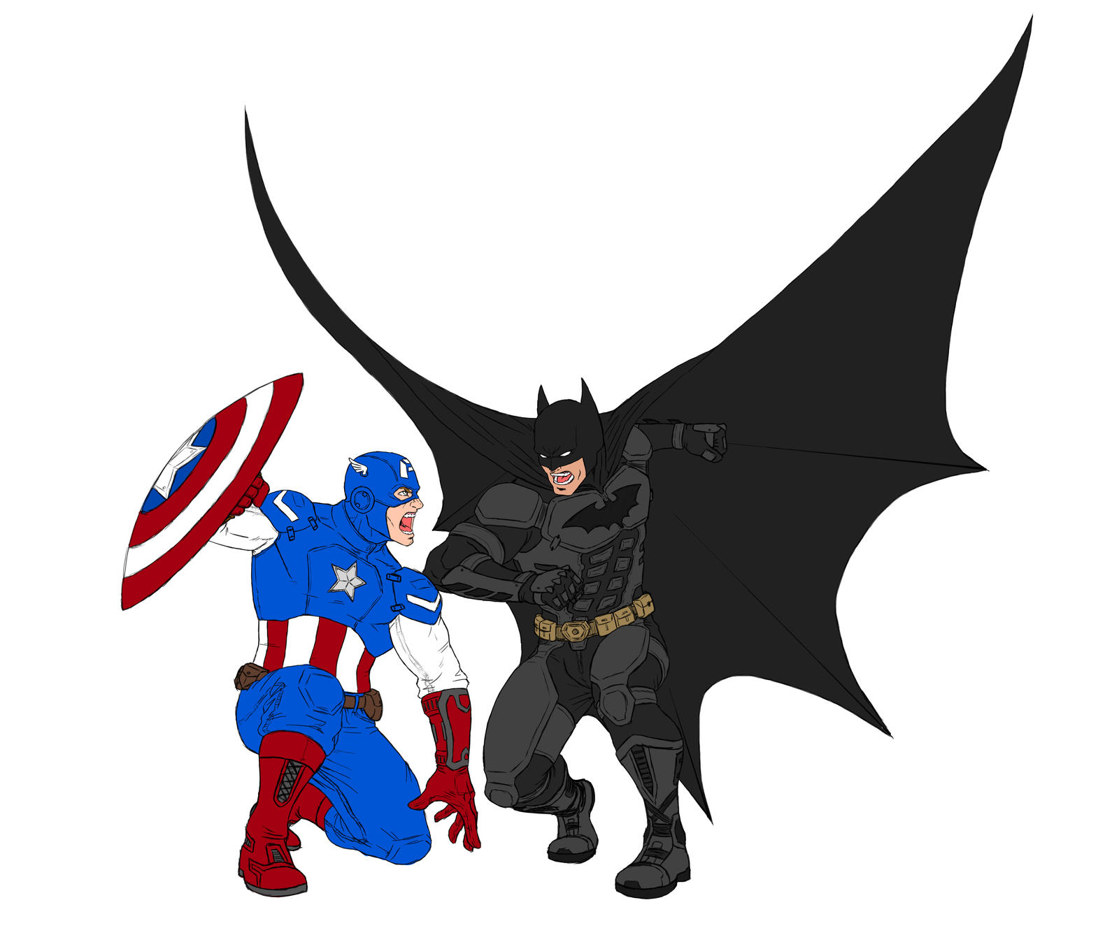 Captain america vs batman drawings