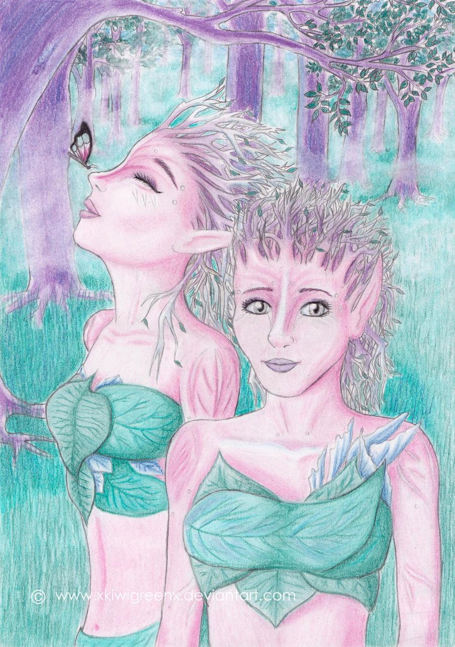 Sylvari sisters by xkiwigreenx