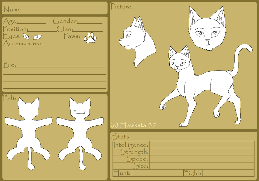 Blank Warriors Reference Sheet FREE TEMPLATE By Hawkstar37 ...  Blank Reference Sheet