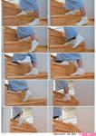 Kimono, Foot, Tabi, Side, Climb the stairs