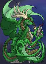 Dragoness with Mini Castle Fin by krazykelli