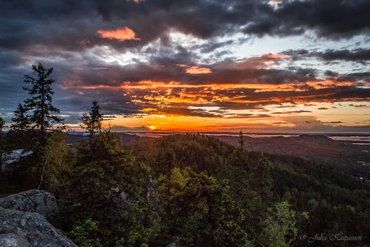 Sunset at the top of Ukko-Koli
