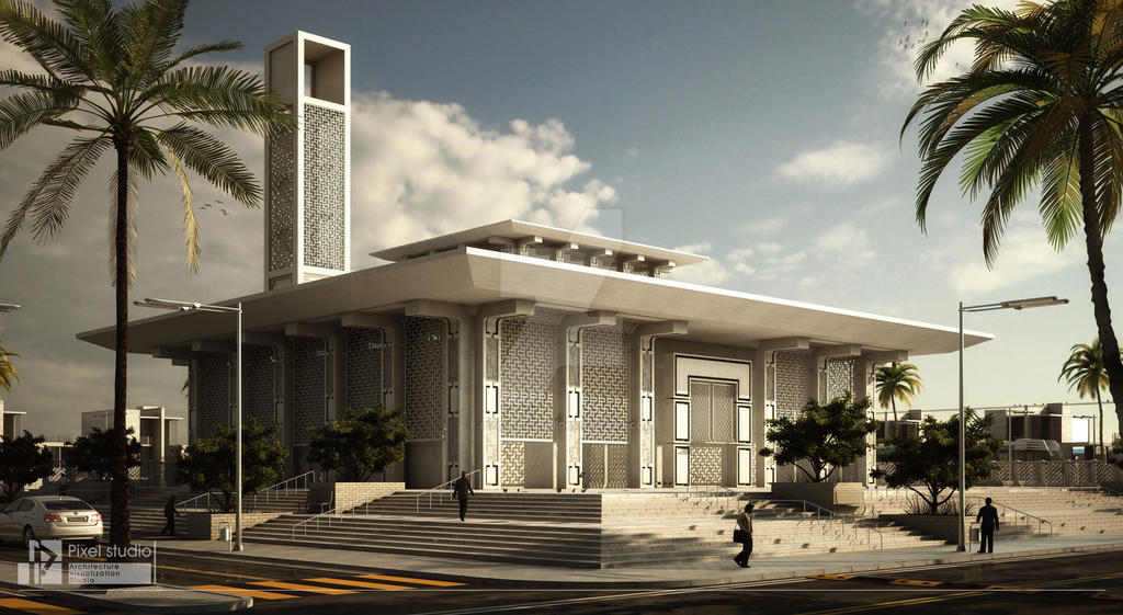Modon mosque exterior by pixel studio on deviantart for Mosque exterior design