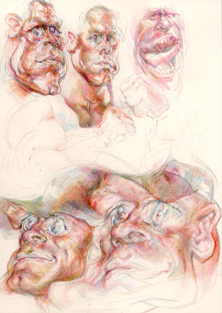 Cena coloured pencil studies by ChloeC