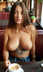 Topless in coffee shop by PirateGhost79