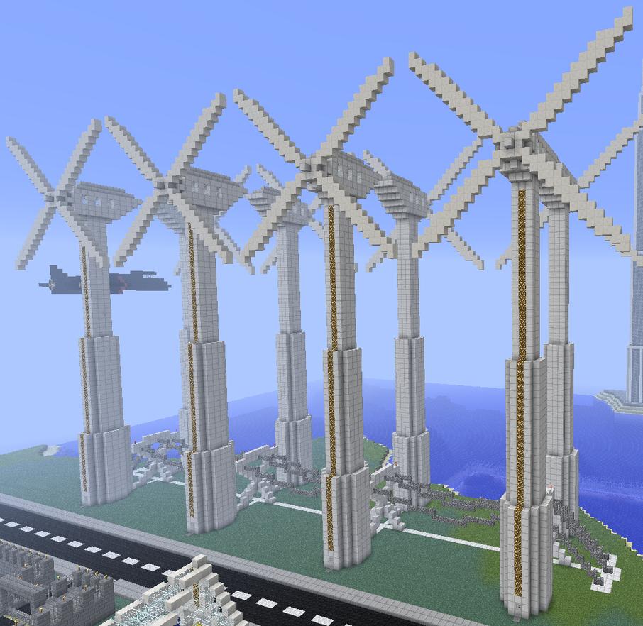 modern windmills in minecraft by mountaindude246 on deviantart