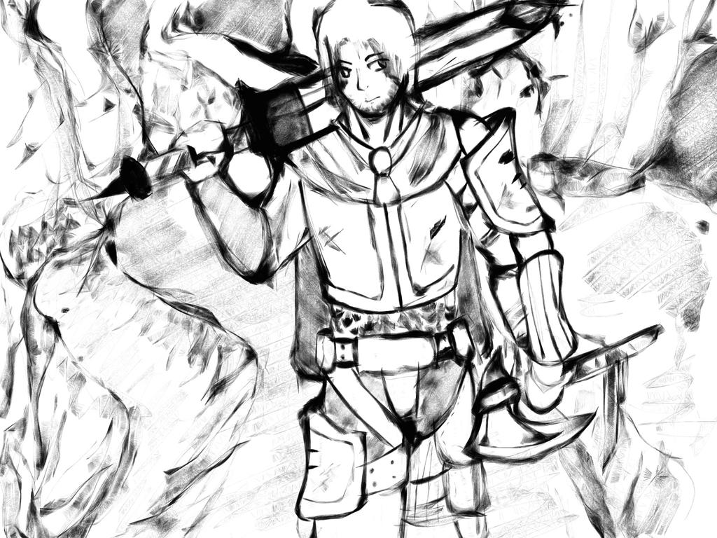 Mountain Path Warrior Sketch by IRToaster