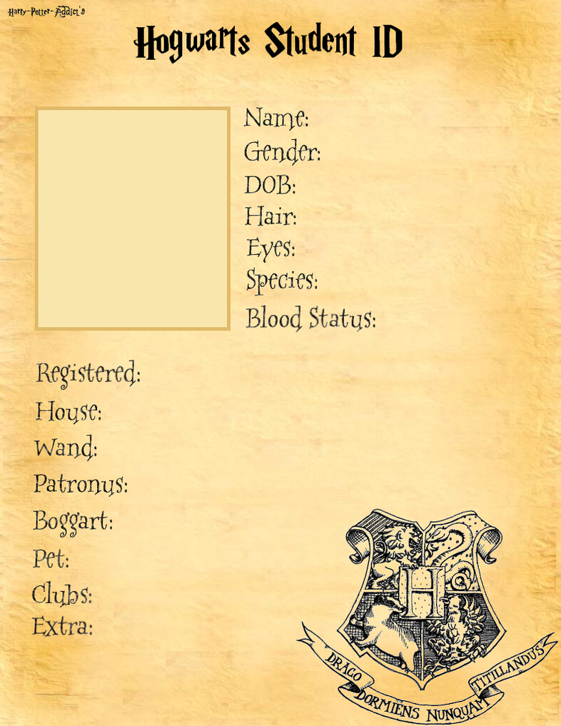 Hogwarts Student Id Base By Harry Potter Addict On Deviantart