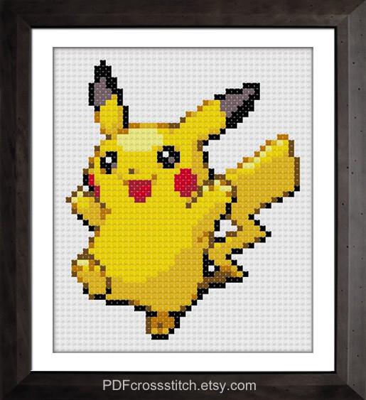 0001.Pikachu by PDFcrossstitch