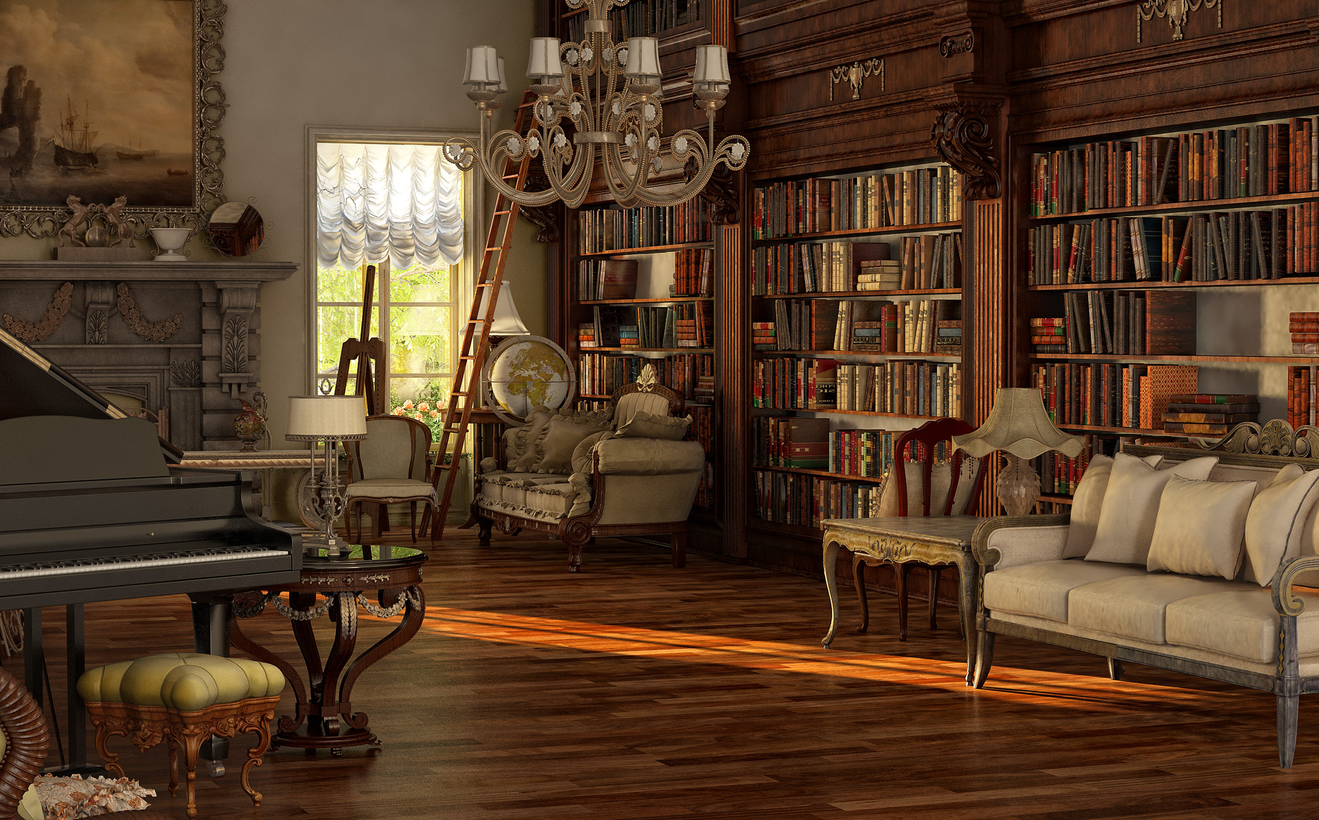 Victorian room by sanfranguy on deviantart for Minimalist victorian living room