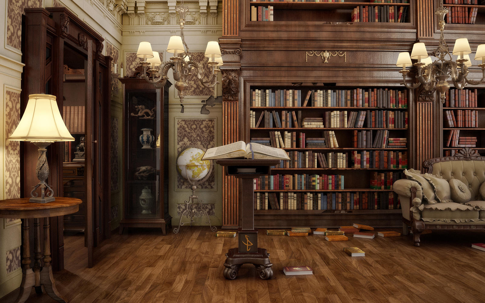 Library by sanfranguy on deviantart for Library painting ideas