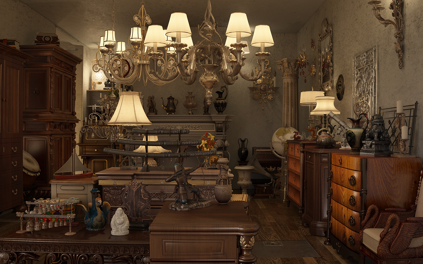 Antique shop revision by sanfranguy on deviantart Vintage interior