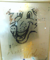 a drawing in my bathroom
