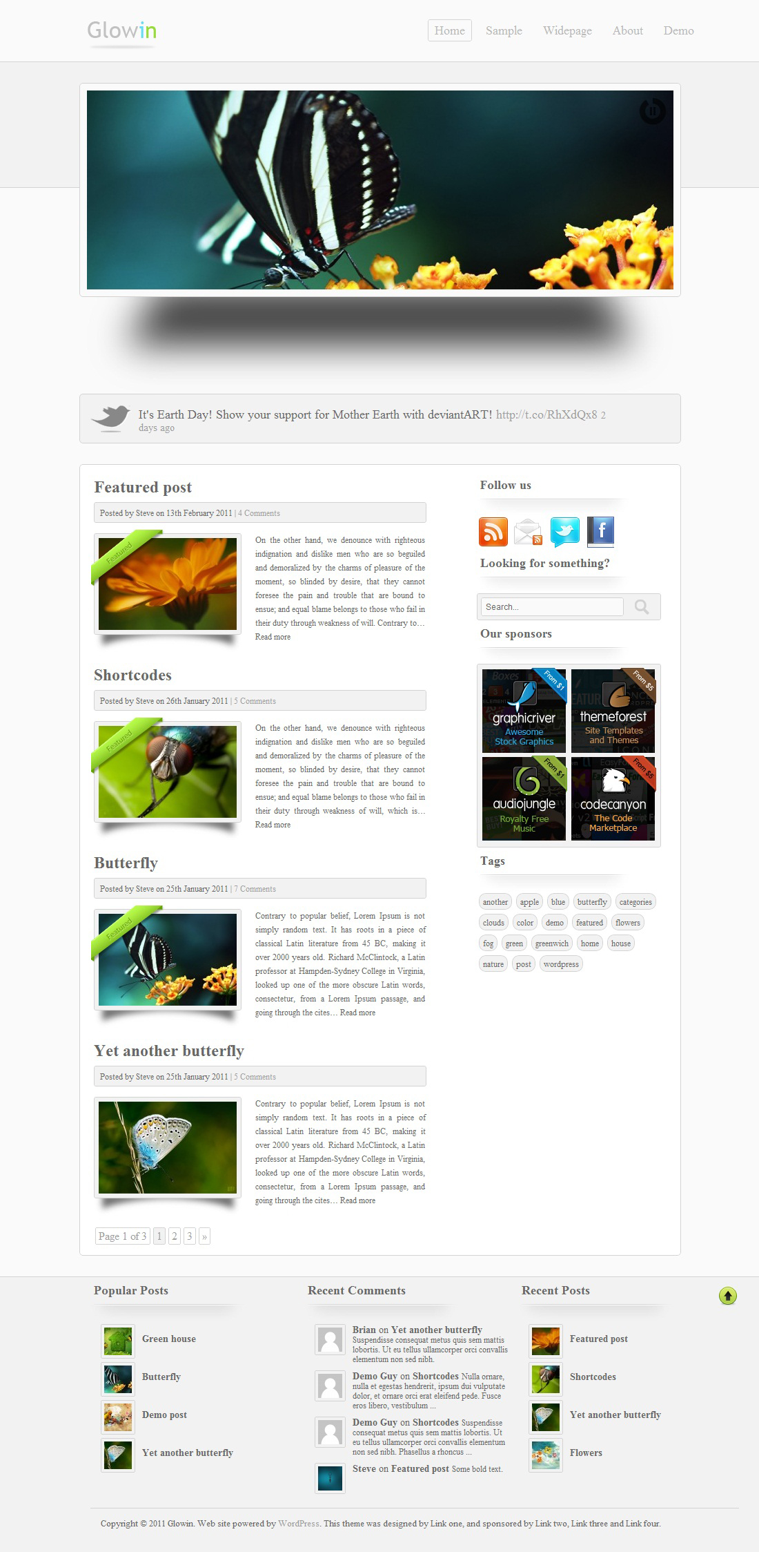 Glowin wordpress theme by stewie17