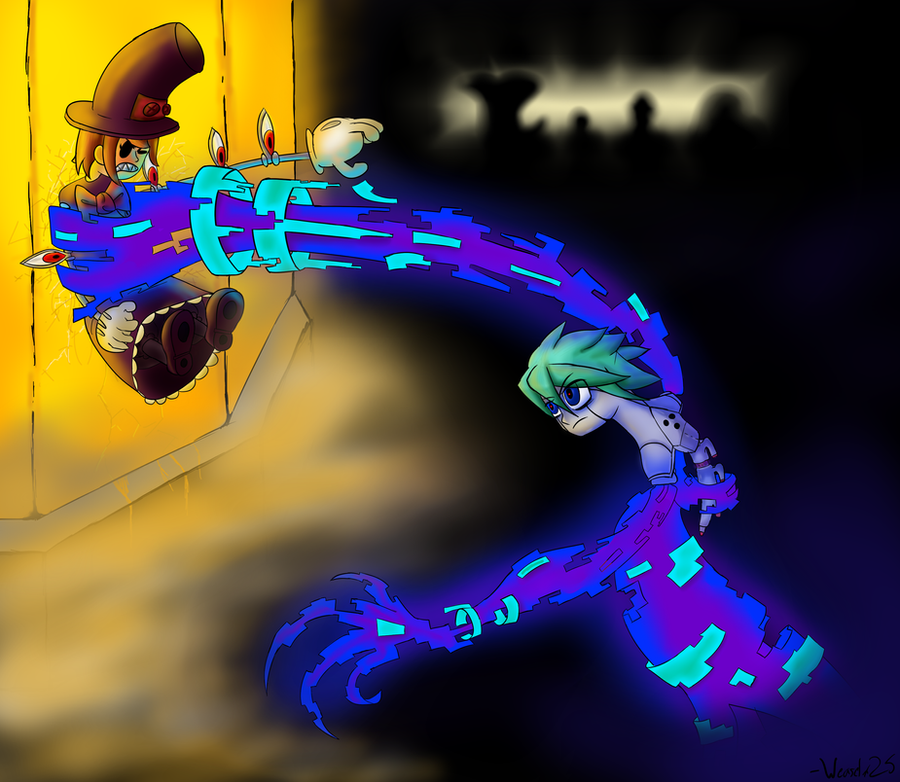 Skullgirls- Peacock vs Nanocyst by Weaselx25