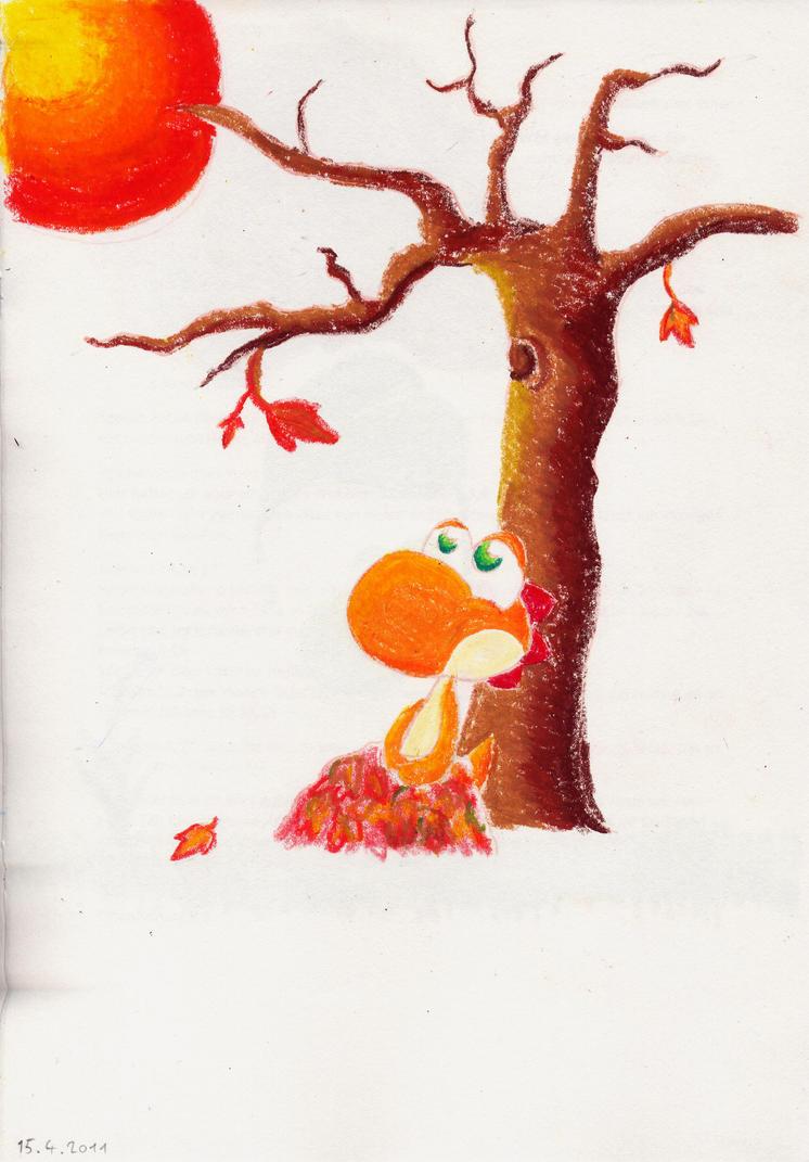 Orange Yoshi-Plush (drawing) by miju22