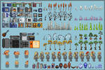 Pixel Art Overview for Portfolio (starbound mods)