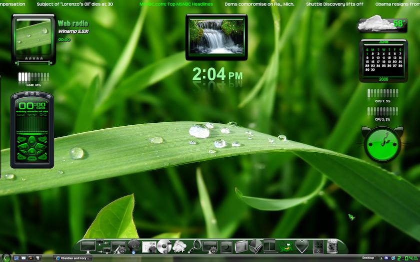 Obsidian Green desktop by MemoryMuse