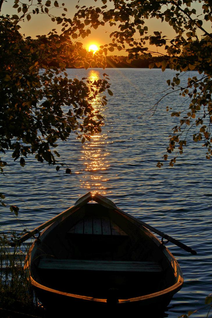 Sunset at lake Joutsijarvi in Finland by KatjaLammi