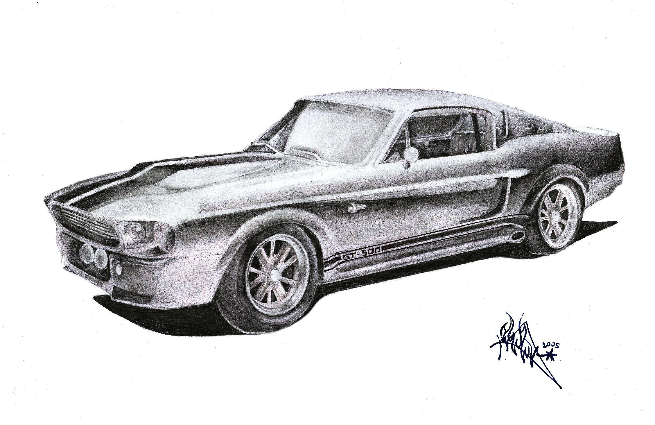 Step 6 How To Draw A 67 Ford Shelby Mustang Gt 500