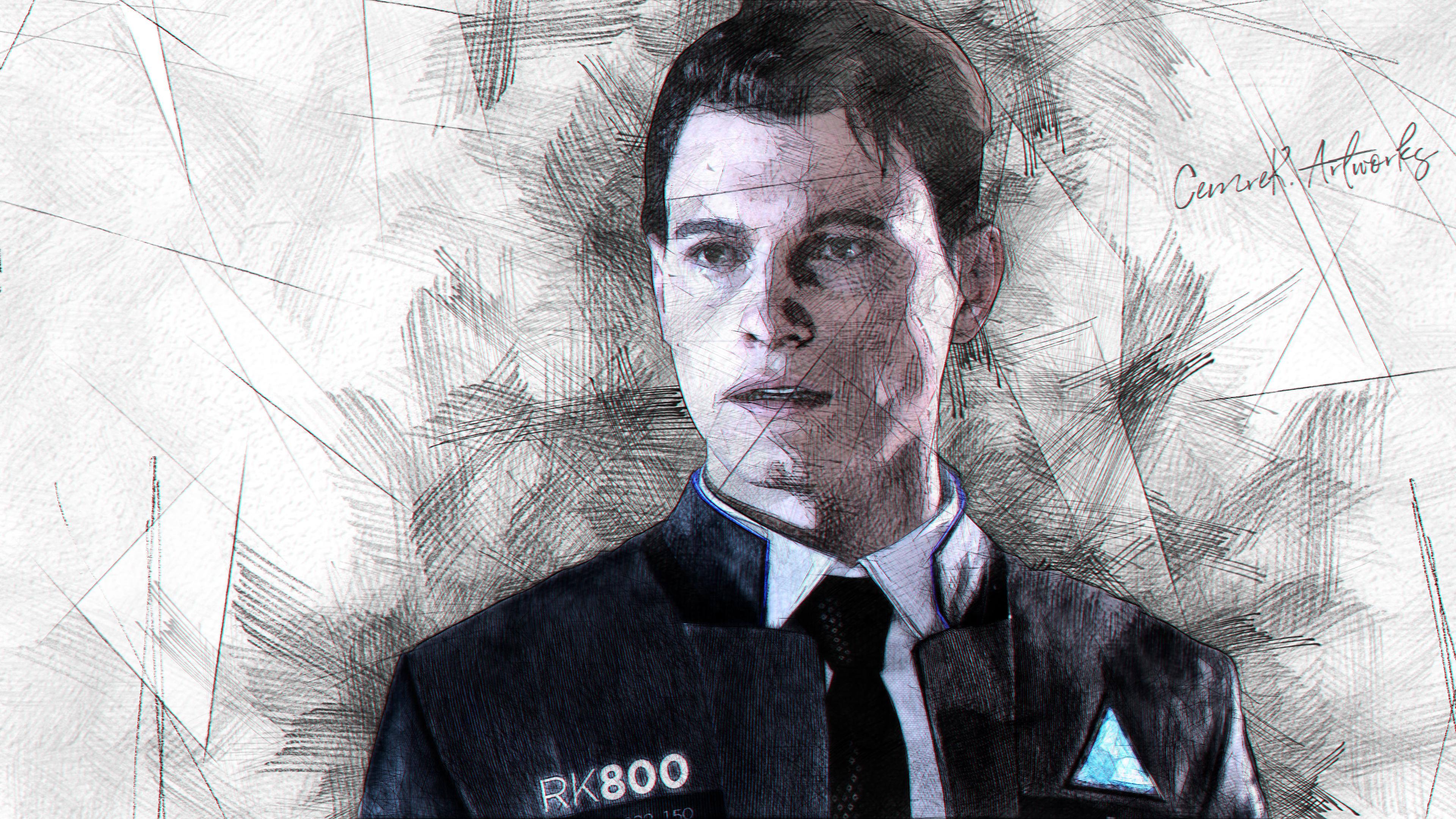 Detroit Become Human Connor Wallpaper: Detroit Become Human Connor Drawing By Cemreksdmr On