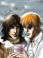Ric and Shatterstar - coffee by Autumn-Sacura