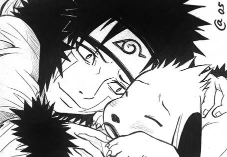 Kiba comforting Akamaru by Autumn-Sacura