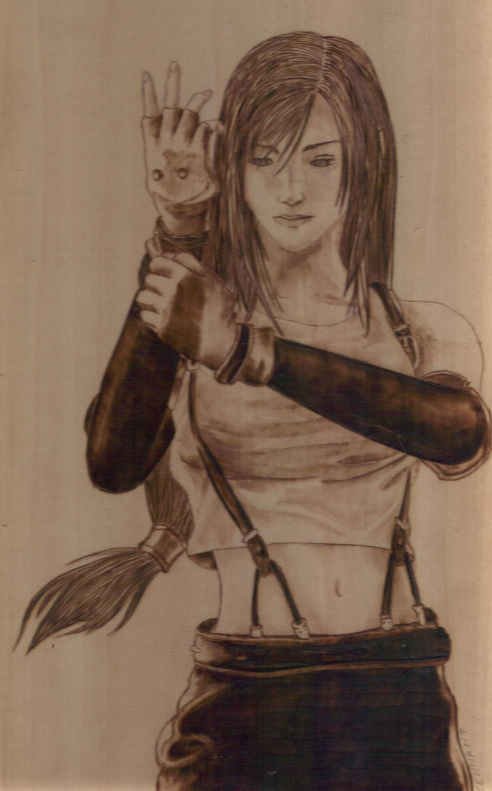 Tifa Pyrography by wickedtiger86