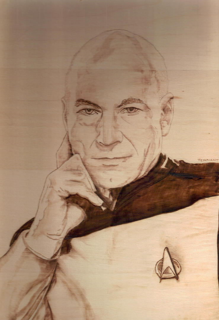 Picard Pyrography by wickedtiger86