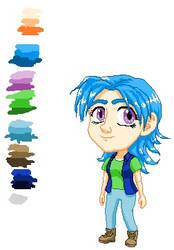 blue girl pixel art