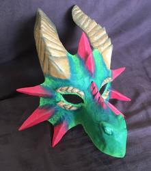 Halloween 2017 Dragon Mask - paper mache by Silver-Sundog