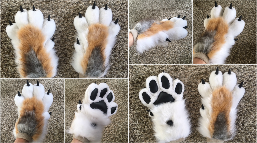 Feral Style Coyote Hand Paws by Silver-Sundog
