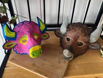 Bison masks by Silver-Sundog