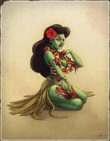 Zombie Hula Girl by CarolineLaplante