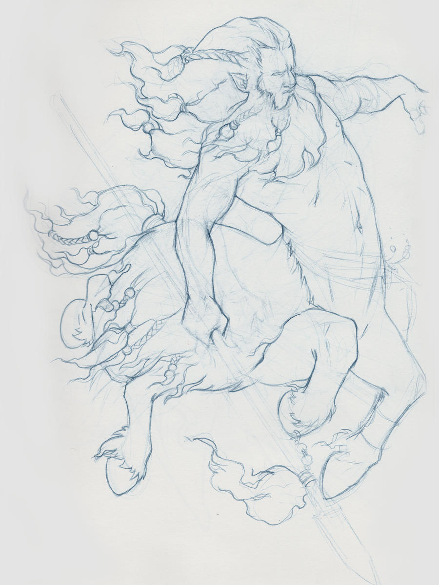 Sketch - Centaur Primitive by SnakeToast