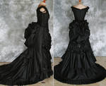 Gothic Victorian Bustle Gown with Train