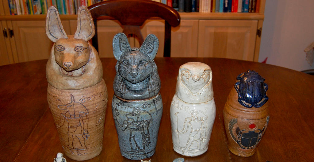 Egyptian Canopic Jars By Rhubarb1590 On Deviantart