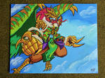 Tempestdramon - A3 Painted Canvas by RasglowReborn