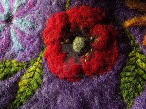 Poppy embroidery on cat cave