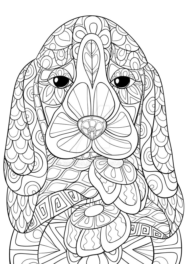 Adult Coloring Book Beagle Dog By Nonuzza