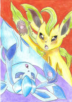 Leafeon and Glaceon Together by jackstar93