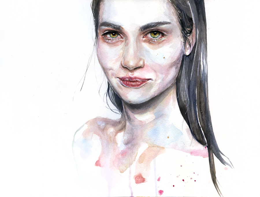 portrait practice on moleskine by agnes-cecile