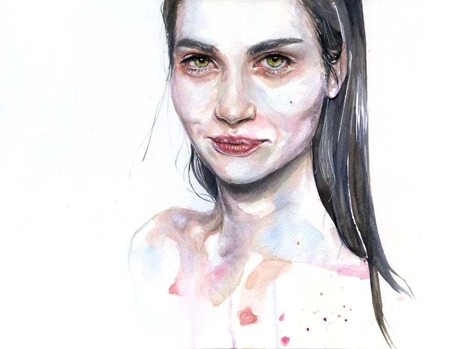 portrait practice on moleskine by agnes-cecile