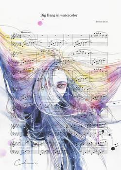 Big Bang in Watercolor on Sheet Music