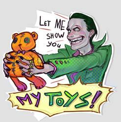 Joker shows toys! by Kardie
