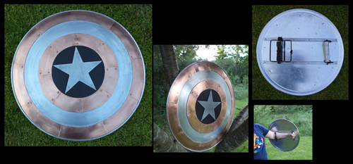 Mixed Metal Captain America Shield by creativeetching